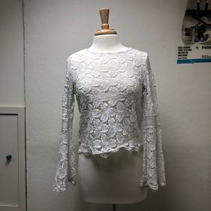 CHARLOTTE RUSSE Lace Long Sleeve Top